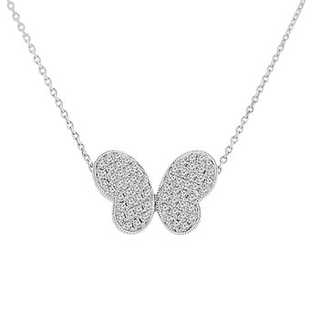 1/3ct tw Diamond Butterfly Necklace in 14K White Gold