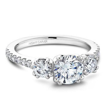 1 3/4ct tw Diamond Three Stone Engagement Ring in 14K White Gold