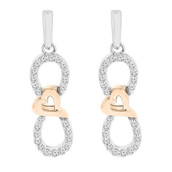 1/8ct tw Diamond Infinity Heart Earrings in Sterling Silver & Rose Gold Plating