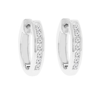1/4ct tw Diamond Hoop Earrings in Sterling Silver