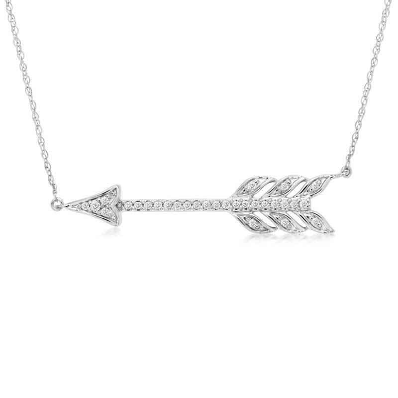 1/10ct tw Diamond Arrow Bar Necklace in 14K White Gold
