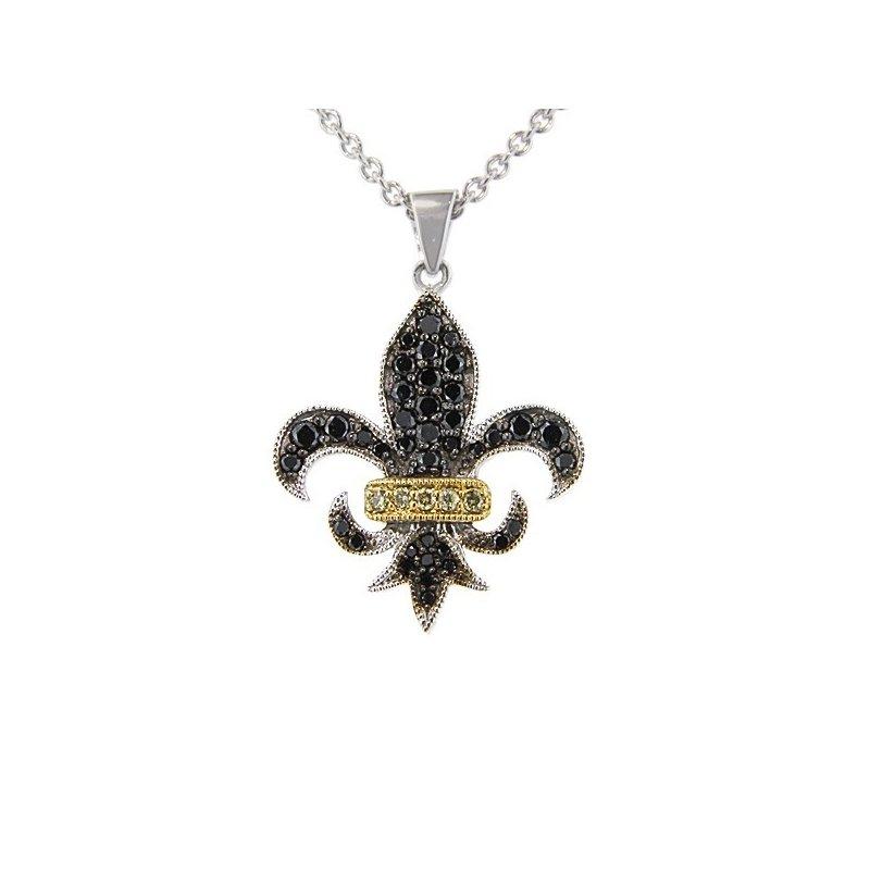 1/2ct tw Diamond Fleur de Lis Necklace in Sterling Silver