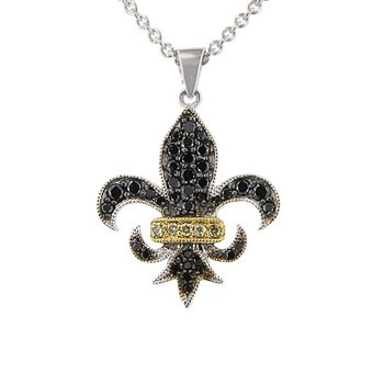 1/2ct tw Diamond Fleur de Lis Necklace in Sterling Silver