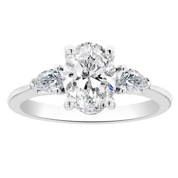 1 1/2ct tw Diamond Three Stone Engagement Ring in 14K White Gold