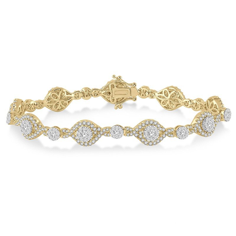3 1/4ct tw Diamond Thousand Points of Light Bracelet in 18K White & Yellow Gold