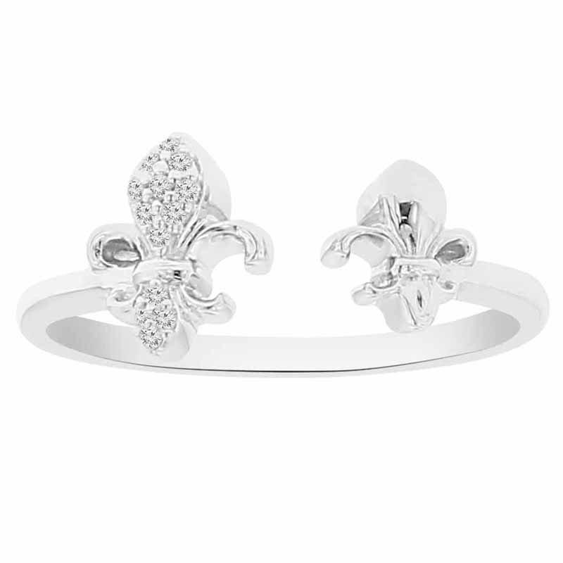.03ct tw Diamond Fleur De Lis Ring in Sterling Silver