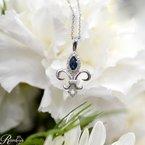 1/10ct tw Diamond & Blue Sapphire Fleur De Lis Necklace in 10K White Gold