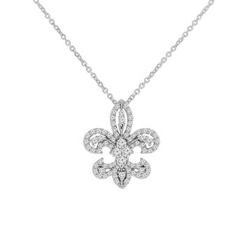 1/2ct tw NewBorn Lab Created Diamond Fleur De Lis Necklace in 10K White Gold