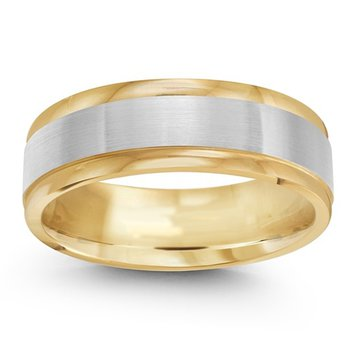 7mm Wedding Ring in 14K White & Yellow Gold