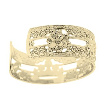 .02ct tw Diamond 7 Inch NOLA 20mm Cuff Bracelet in Sterling Silver & Yellow Gold Plating
