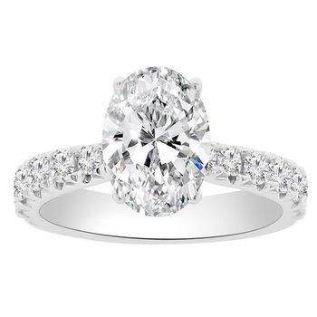 1ct tw Diamond Engagement Ring Setting in 18K White Gold