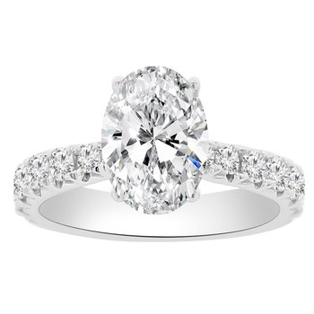1ct tw Diamond Engagement Ring Setting in 18K White Gold