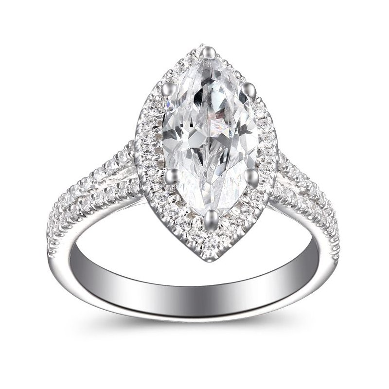 2 7/8ct tw Diamond Halo Engagement Ring in 14K White Gold