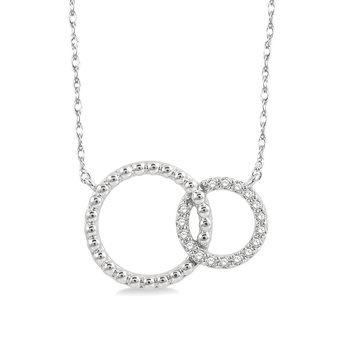 1/10ct tw Diamond Double Circle Necklace in 10K White Gold
