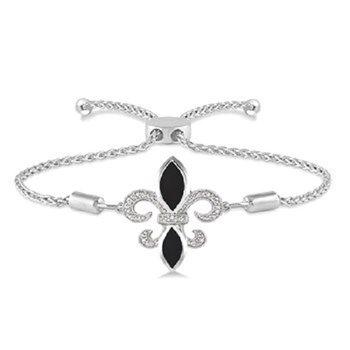 .06ct tw Diamond & Black Onyx Fleur De Lis Bracelet in Sterling Silver