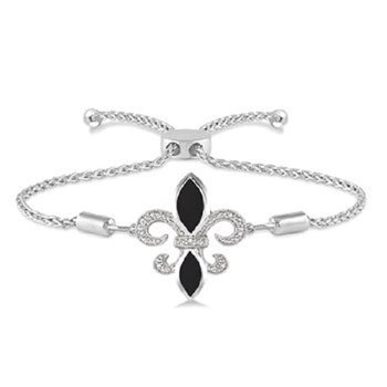 .06ct tw Diamond & Black Onyx Fleur De Lis Bracelet in Sterling Silver
