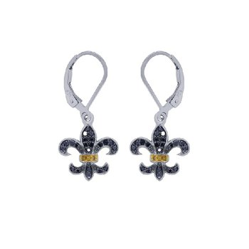 1/4ct tw Diamond Fleur De Lis Earrings in Sterling Silver