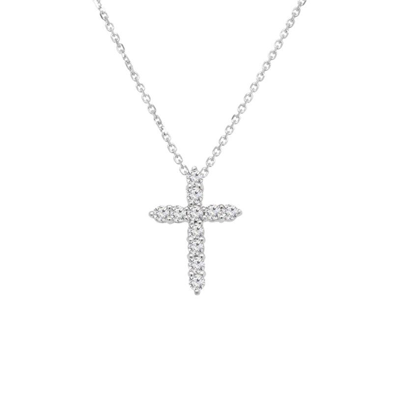 1/3ct tw NewBorn Lab Created Diamond Cross Necklace in 14K White Gold