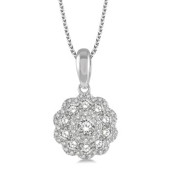 1/2ct tw Diamond Floral Necklace in 14K White Gold