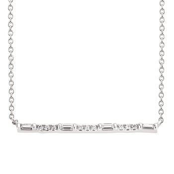 1/8ct tw Diamond Bar Necklace in 14K White Gold