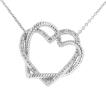 1/10ct tw Diamond Interwoven Heart Necklace in Sterling Silver