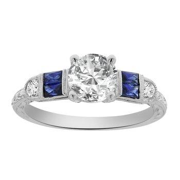 1 1/8ct tw NewBorn Lab Created Diamond & Sapphire Engagement Ring in 14K White Gold