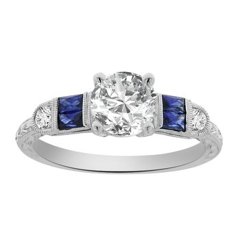 1 1/8ct tw NewBorn Lab Created Diamond & Sapphire Engagement Ring in 14K White Gold