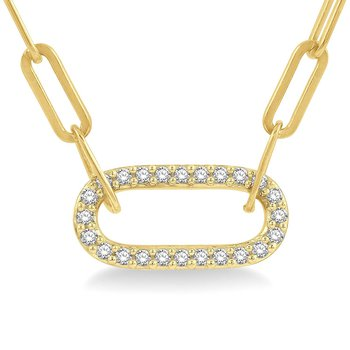 1/4ct tw Diamond Paper Clip Necklace in 14K  Yellow Gold