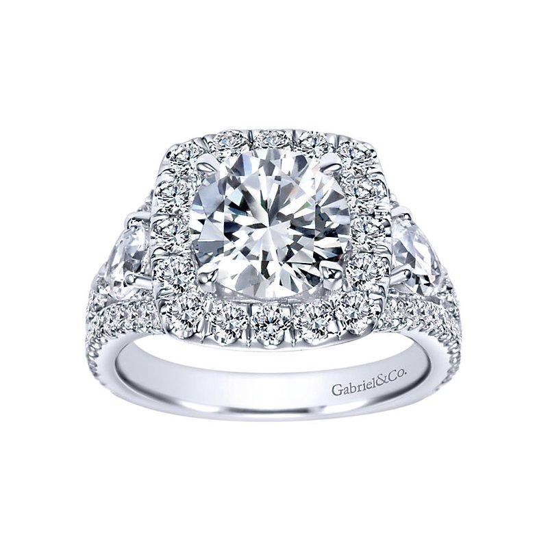 3 3/4ct tw Diamond Halo Engagement Ring Setting in 14K White Gold