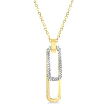 3/8ct tw Diamond Paper Clip Necklace in 14K White & Yellow Gold