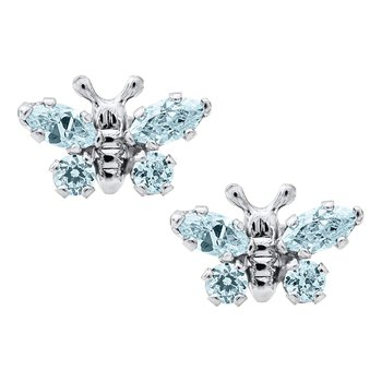 March Birthstone Butterfly Earrings in Sterling Silver