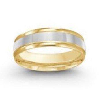 6mm Wedding Ring in 14K White & Yellow Gold