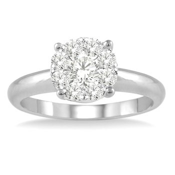 1/8ct tw Diamond Thousand Points of Light Engagement Ring in 14K White Gold