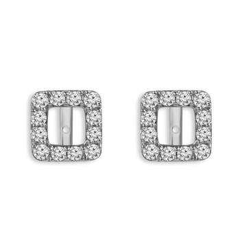 1ct tw Diamond Halo Earring Jackets in 14K White Gold