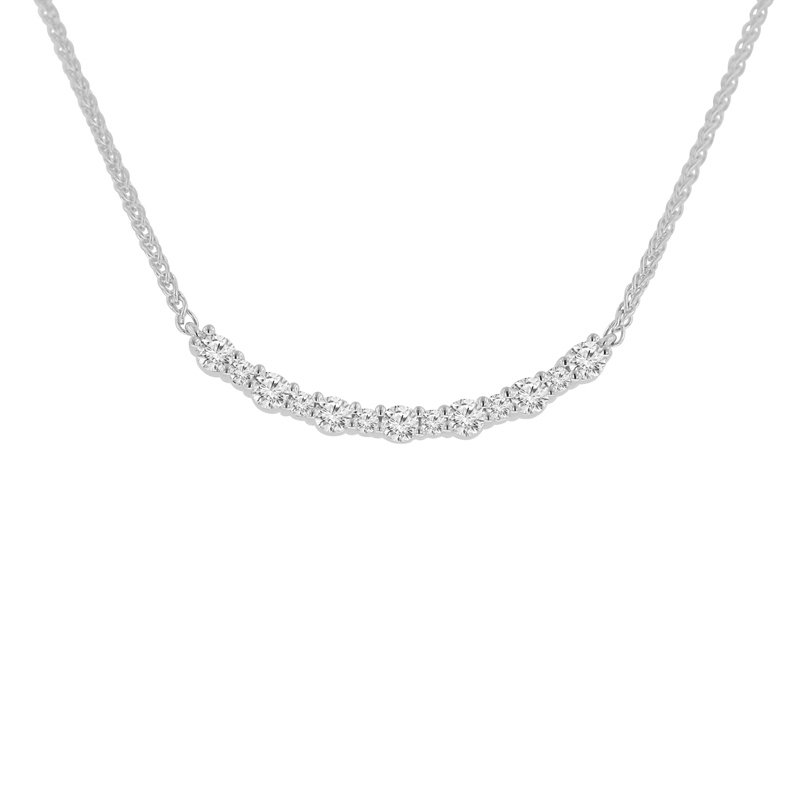 3/4ct tw NewBorn Lab Created Diamond Bar Necklace in 14K White Gold