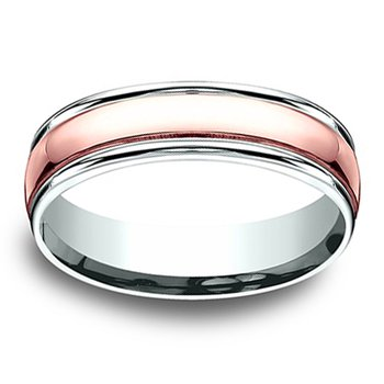 6mm Wedding Ring in 14K White & Rose Gold