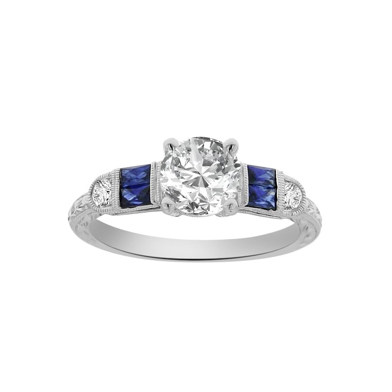 3/8ct tw Diamond & Blue Sapphire Engagement Ring Setting in 14K White Gold