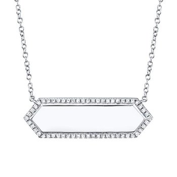 1/8ct tw Diamond Engraveable Bar Necklace in 14K White Gold