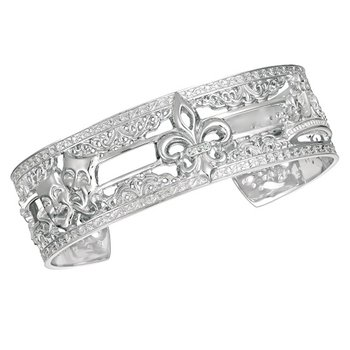 .02ct tw Diamond 8 Inch NOLA 20mm Cuff Bracelet in Sterling Silver