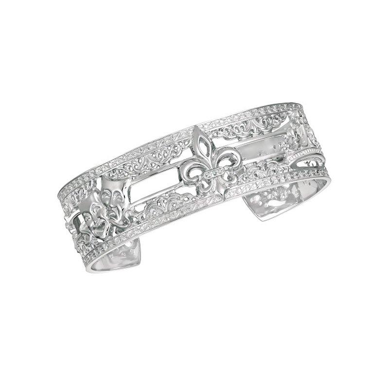 .02ct tw Diamond 8 Inch NOLA 20mm Cuff Bracelet in Sterling Silver