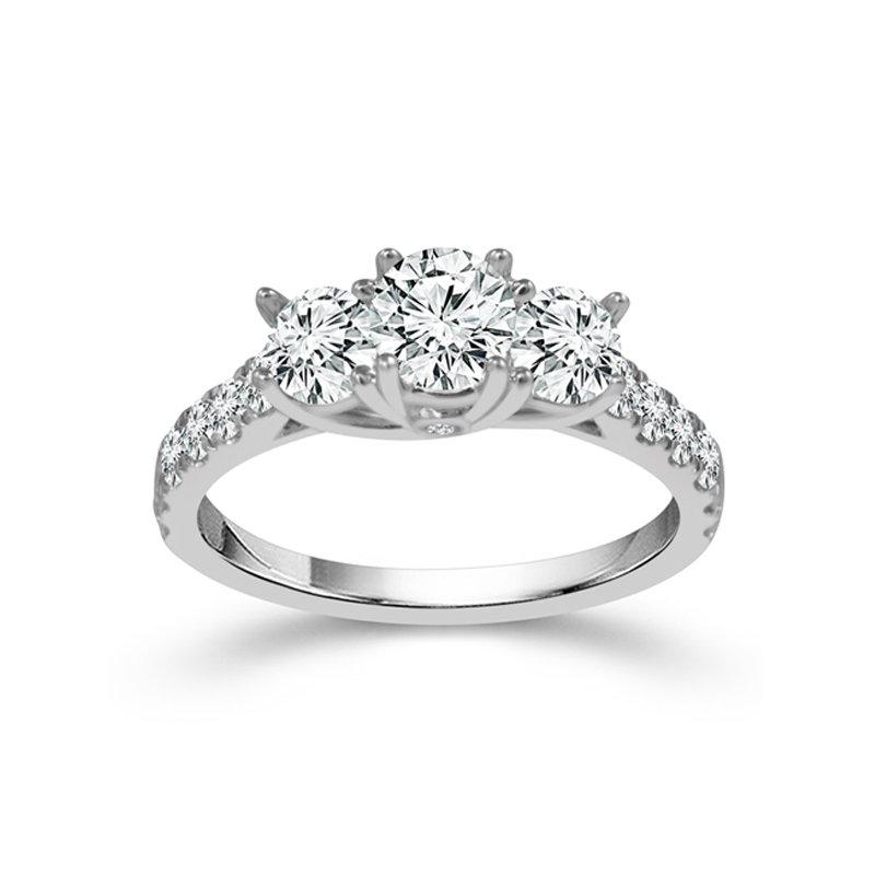 1ct tw Diamond Three Stone Engagement Ring in 14K White Gold
