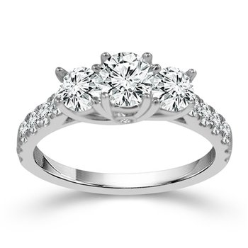 1ct tw Diamond Three Stone Engagement Ring in 14K White Gold