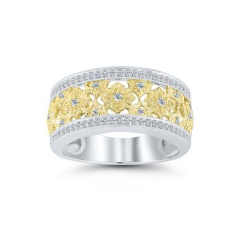 1/4ct tw Diamond Floral Ring in 10K White & Yellow Gold