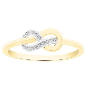 .05ct tw Diamond Knot Ring in 10K White & Yellow Gold