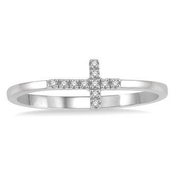 .04ct tw Diamond Cross Ring in 10K White Gold