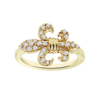 1/4ct tw Diamond Fleur De Lis Fashion Ring in 14K Yellow Gold