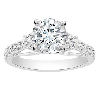 1/2ct tw Diamond Three Stone Engagement Ring Setting in 14K White Gold