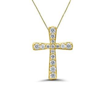 1/5ct tw Diamond Cross Necklace in 10K Yellow Gold