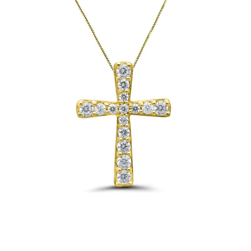 1/5ct tw Diamond Cross Necklace in 10K Yellow Gold