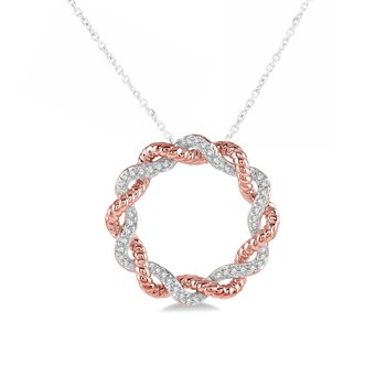 1/8ct tw Diamond Circle Necklace in 10K White & Rose Gold